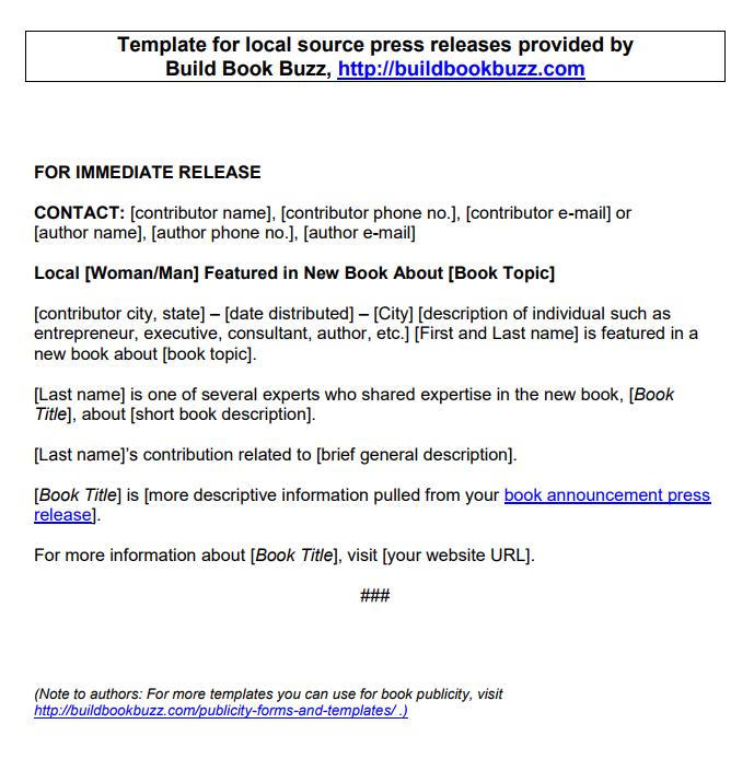 book announcement template