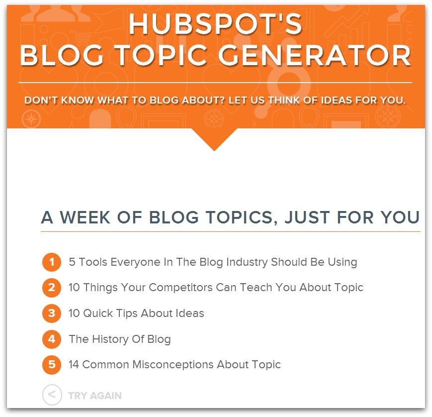 Cool tool: HubSpot's Blog Topic Generator - Build Book Buzz