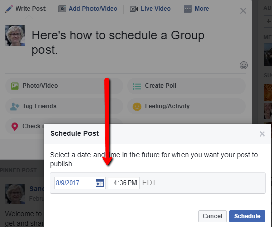 schedule a Facebook group post 4