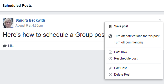 schedule a Facebook group post 8