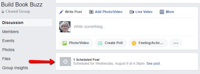 schedule a Facebook group post 5